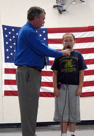 Also  great news for my kids this week  Indy got her student of the month award  Here she is receiving that honor